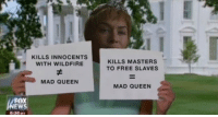 <p>Best Twitter Memes And Reactions Last Night&rsquo;s &lsquo;Game Of Thrones&rsquo; (SPOILERS)</p>: KILLS INNOCENTS  WITH WILDFIRE  KILLS MASTERS  TO FREE SLAVES  MAD QUEEN  MAD QUEEN  FOX  :36M <p>Best Twitter Memes And Reactions Last Night&rsquo;s &lsquo;Game Of Thrones&rsquo; (SPOILERS)</p>