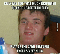 Encouraging Meme: KILLSARENOT THAT MUCH DISPLAYED  TO ENCOURAGE TEAM PLAY  PLAY OF THE GAME FEATURES  EXCLUSIVELY KILLS  MEMEFUL COM