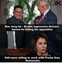 🗣 @Badassery: Kim Jong Un - Brutal, oppressive dictator  known for killing his opposition  Still more willing to work with Trump than  Democrats 🗣 @Badassery