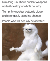 Pretty much.. 😩💯🇺🇸 https://t.co/PGKgf6Aa4F: Kim Jong-un: I have nuclear weapons  and will destroy ur whole country  Trump: My nuclear button is bigger  and stronger. U stand no chance  People who will actually be affected Pretty much.. 😩💯🇺🇸 https://t.co/PGKgf6Aa4F