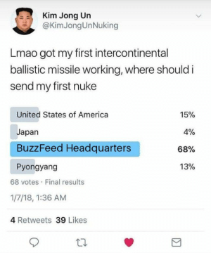 America, Kim Jong-Un, and Lmao: Kim Jong Un  @KimJongUnNuking  Lmao got my first intercontinental  ballistic missile working, where should i  send my first nuke  United States of America  Japan  BuzzFeed Headquarters  Pyongyang  15%  0%  68%  13%  68 votes Final results  1/7/18, 1:36 AM  4 Retweets 39 Likes YEET !