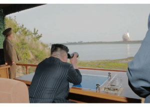 Kim Jong Un watching the ballistic missile launch: Kim Jong Un watching the ballistic missile launch