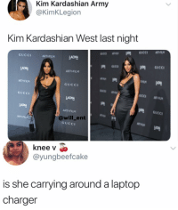 😂Kim is charging the game: Kim Kardashian Army  @KimKLegion  Kim Kardashian West last night  GUCCI  ToFILM  LACMA  GUCCI  LACMA  ART FILM  ART FILM  GUCCI  GUCCI  LACMA  网 GUCCI  ART FILM  @will_ent  ART  Mo  GUCCI  knee v  @yungbeefcake  is she carrying around a laptop  charger 😂Kim is charging the game