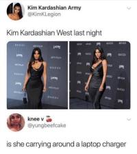 Kim Kardashian: Kim Kardashian Army  @KimKLegion  Kim Kardashian West last night  GUCCI  ART F  LACMA  ART FILM  ART FILM  GuCCI  GUCCI  LACMA  LACHA  GUCC  ART FILM  ART FILM  GUCC  knee v  @yungbeefcake  is she carrying around a laptop charger