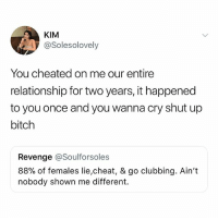 Wow..: KIM  @Solesolovely  You cheated on me our entire  relationship for two years, it happened  to you once and you wanna cry shut up  bitch  Revenge @Soulforsoles  88% of females lie,cheat, & go clubbing. Ain't  nobody shown me different. Wow..