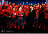 """Memes, Spider, and Jimmy Kimmel: Tom Holland and some friends from Hollywood Blvd are at """"Jimmy Kimmel Live!"""" for the world premiere trailer of SPIDER-MAN: HOMECOMING!  (Andrew Gifford)"""