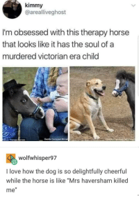 "What a delight: kimmy  @arealliveghost  I'm obsessed with this therapy horse  that looks like it has the soul of a  murdered victorian era child  Gente Carousel MiniaEANO  wolfwhisper97  I love how the dog is so delightfully cheerful  while the horse is like ""Mrs haversham killed  me"" What a delight"