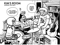 Head, Saw, and School: KIM'S ROOM  (ACROSS THE HALL)  WE'RE  A BAND,  AREN'T  WE?  YOU WANT  TO HAVE BAND  PRACTICE? radiomaru:  dailyscottpilgrim:  Book 5 Page 38  man……….. i put a lot of work into that panel, didn't i :(  i was trying to figure out what the poster above her bed is and remembered it's the Japanese poster for Amelie. i saw that on someone's wall once and it's a really appealing image. I don't even know if kim likes the movie or just likes the poster.   on her book shelf she has both Dostoevsky and Dragonlance. and the little elephant with a bunny on its head is from a comic i used to draw in middle school.
