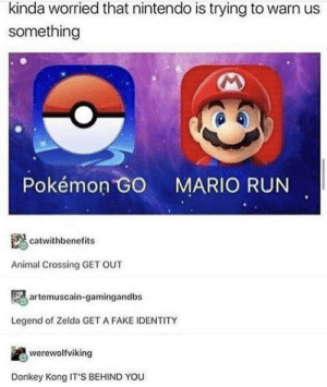 .: kinda worried that nintendo is trying to warn us  something  Pokémon GO  MARIO RUN  catwithbenefits  Animal Crossing GET OUT  artemuscain-gamingandbs  Legend of Zelda GET A FAKE IDENTITY  werewolfviking  Donkey Kong IT'S BEHIND YOU .