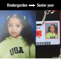 She gets this throwback ID photo perfectly right! (credit: Tyra Hunt) http://9gag.com/gag/a5rwKwE?ref=fbp: Kindergarden Senior year  hool  86  ilSA  12th  USA  VIA 9GAG.COM She gets this throwback ID photo perfectly right! (credit: Tyra Hunt) http://9gag.com/gag/a5rwKwE?ref=fbp