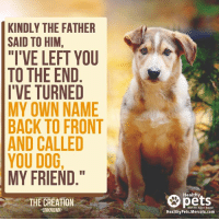 "Because dogs and other animals are gifts from God. 🙏💕: KINDLY THE FATHER  SAID TO HIM,  ""I'VE LEFT YOU  TO THE END  I'VE TURNED  MY OWN NAME  BACK TO FRONT  AND CALLED  YOU DOG,  MY FRIEND  THE CREATION  UNKNOWN  Healthy  With Dr. Karen  Healthy Pets.Mercola.com Because dogs and other animals are gifts from God. 🙏💕"