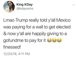 Dank, Lmao, and Memes: King KDay  @kdaywins  Lmao Trump really told y'all Mexico  was paying for a wall to get elected  & now y'all are happily giving to a  gofundme to pay for it ea  finessed!  12/20/18, 4:11 PM how tf has the gofundme raised 7mil in 3 days by ok8ko MORE MEMES