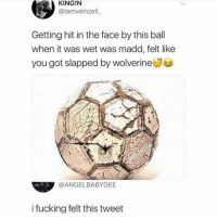 Shit was crucial 😭😭: KING!N  @lamveinzell  Getting hit in the face by this ball  when it was wet was madd, felt like  you got slapped by wolverineSe  N DANK  @ANGELBABYDEE  i fucking felt this tweet Shit was crucial 😭😭