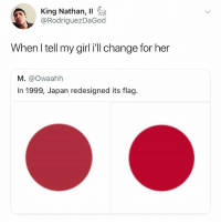 Did you know that Japan's flag is also a pie chart of what percentage of Japan is *in* Japan? • Follow @savagememesss for more posts daily: King Nathan, 11  @RodriguezDaGod  When l tell my girl i'll change for her  M. @Owaahh  In 1999, Japan redesigned its flag. Did you know that Japan's flag is also a pie chart of what percentage of Japan is *in* Japan? • Follow @savagememesss for more posts daily