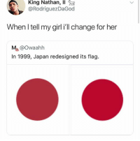Memes, Girl, and Japan: King Nathan, 11 )  @RodriguezDaGoo  When I tell my girl i'll change for her  Mu@Owaahh  In 1999, Japan redesigned its flag. Damn