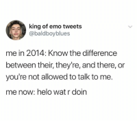Emo, God, and Love: king of emo tweets  @baldboyblues  me in 2014: Know the difference  between their, they're, and there, or  you're not allowed to talk to me.  me now: helo wat r doin If you love memes follow @god