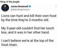 Food, Lions, and Time: King of the jungle  James Breakwell  @XplodingUnicorn  Lions can hunt and kill their own food  by the time they're 3 months old  My 3-year-old couldn't find her lunch  box, and it was in her other hand.  I can't believe we're at the top of the  food chain.