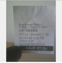 King Ranger Theater >> King Ranger Theatre Welcome Enjoy The Show Dunkirk Pg 13 Screen 9