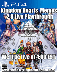 So its been awhile since my last Kingdom Hearts stream but ill be live today doing my first blind play through of Aquas story! Stop by and say hello!!! *no spoilers please*  https://www.twitch.tv/kingdomheartsmemes: Kingdom Hearts Memes  2.8 Live Playthrough  ENEFT  DEST,  ERA  w.twitchtuukingdomheartsmenn So its been awhile since my last Kingdom Hearts stream but ill be live today doing my first blind play through of Aquas story! Stop by and say hello!!! *no spoilers please*  https://www.twitch.tv/kingdomheartsmemes