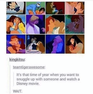 Disney, Movie, and Time: kingkitsu  aw  It's that time of year when you want to  snuggle up with someone and watch a  Disney movie.  WAIT Disney