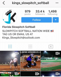 kings-slowpitch-softball  979 33.4 k 1,498  posts followers following  Follow  Florida Slowpitch Softball  SLOWPITCH SOFTBALL NATION WIDE  TAG US OR EMAIL US AT  Kings_Slowpitch@outlook.com  [시  SSR  ANOTHER WITNESSING OF A C  A BALL ON A SITUATIONAL PLAY  1-2 What the fuck is this fucking sport lmao