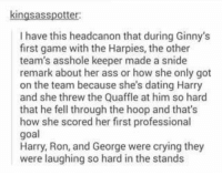 ginny's: kingsasspotter  I have this headcanon that during Ginny's  first game with the Harpies, the other  team's asshole keeper made a snide  remark about her ass or how she only got  on the team because she's dating Harry  and she threw the Quaffle at him so hard  that he fell through the hoop and that's  how she scored her first professional  goal  Harry, Ron, and George were crying they  were laughing so hard in the stands