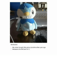 Bad, God, and Memes: kinokoren:  My sister bought this piplup plushie a few year ago  because she felt bad for it. Faith in humanity restored for a little bit... Follow @god.of.appleysauce for more post like this!