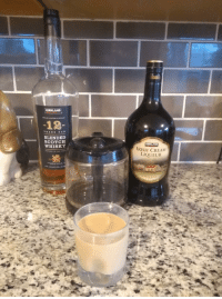 I Present a Celtic Breakfast: Equal Parts Scotch, Isish Liqueur, and Day Old Coffee. Best Served at 5pm.: KIRKLAND  DINTILLED&MATURED IN BCOTLAND  -12  YEAR S OL D  BLENDED  WHISKY  KIRKLAND  RISH CREAM  LIQUEUR  MATURED IN OAK CASK  75L  40% ALC/VOL.  (80P I Present a Celtic Breakfast: Equal Parts Scotch, Isish Liqueur, and Day Old Coffee. Best Served at 5pm.