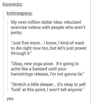"I'd pay for this shit.: kissnecks:  knitmeapony:  My next million dollar idea: reluctant  exercise videos with people who aren't  perky  ""Just five more... I know, I kind of want  to die right now too, but let's just power  through it.""  ""Okay, new yoga pose. It's going to  ache like a bastard until your  hamstrings release, I'm not gonna lie.""  ""Stretch a little deeper... it's okay to yell  'fuck' at this point, I won't tell anyone.""  yes I'd pay for this shit."