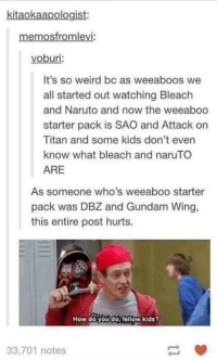 Stop: Anime / Cartoon: kitaokaapologist:  memosfromlevi:  voburi:  It's so weird bc as weeaboos we  all started out watching Bleach  and Naruto and now the weeaboo  starter pack is SAO and Attack on  Titan and some kids don't even  know what bleach and naru TO  ARE  As someone who's weeaboo starter  pack was DBZ and Gundam Wing,  this entire post hurts.  How do you do fellow kids?  33,701 notes Stop: Anime / Cartoon