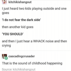 Life comes at you fast: kitchikishangout  I just heard two kids playing outside and one  goes  I do not fear the dark side'  then another kid goes  YOU SHOULD  and then I just hear a WHACK noise and then  crying  腮cascadingcrusader  That is the sound of childhood happening  Source: kitchikishangout Life comes at you fast
