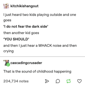 "childhood in its basic form: kitchikishangout  I just heard two kids playing outside and one  goes  I do not fear the dark side'  then another kid goes  ""YOU SHOULD'  and then I just hear a WHACK noise and then  crying  cascadingcrusader  That is the sound of childhood happening  204,734 notes childhood in its basic form"