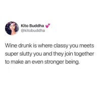 This makes complete sense! @circleofidiots for more meme awesomeness: Kito Buddha  @kitobuddha  Wine drunk is where classy you meets  super slutty you and they join together  to make an even stronger being. This makes complete sense! @circleofidiots for more meme awesomeness
