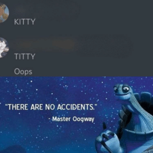 """I just felt like making this, idk why: KITTY  TITTY  Oops  """"THERE ARE NO ACCIDENTS.""""  Master Oogway I just felt like making this, idk why"""