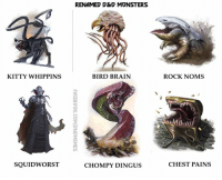 Renamed D&D Monsters.   -Law: KITTY WHIPPINS  SQUIDWORST  RENAMED D&D MVNSTERS  BIRD BRAIN  CHOMPY DING US  ROCK NOMS  CHEST PAINS Renamed D&D Monsters.   -Law