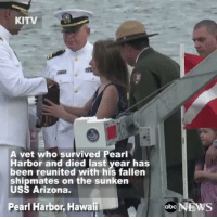 """Respect repost via @abcnews In a solemn ceremony held this past weekend, U.S. Navy veteran Raymond Haerry - who survived PearlHarbor and died last year at age 94 - is reunited with his fallen shipmates aboard the sunken USSArizona. """"Even in the last days of his life, he decided he was going home - going home to Arizona."""": KITV  A vet who survived Pearl  Harbor and died last year has  been reunited with his fallen  shipmates on the sunken  USS Arizona.  Pearl Harbor, Hawaii  abc  NEWS Respect repost via @abcnews In a solemn ceremony held this past weekend, U.S. Navy veteran Raymond Haerry - who survived PearlHarbor and died last year at age 94 - is reunited with his fallen shipmates aboard the sunken USSArizona. """"Even in the last days of his life, he decided he was going home - going home to Arizona."""""""