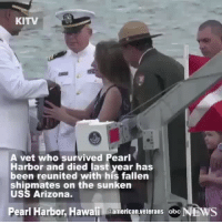 Abc, America, and Memes: KITV  A vet who survived Pearl  Harbor and died last year has  been reunited with his fallen  shipmates on the sunken  USS Arizona.  Pearl Harbor, Hawaii @american veterans abc Rest in Peace, hero! americanveterans veterans usveterans usmilitary usarmy supportveterans honorvets usvets america usa patriot uspatriot americanpatriot supportourtroops godblessourtroops ustroops americantroops semperfi military remembereveryonedeployed deplorables deployed starsandstripes americanflag usflag respecttheflag marines navy airforce