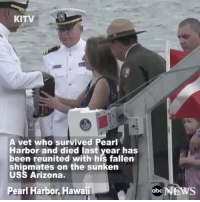 Fair Winds and Following Seas Master Chief! Rest easy with your brothers now. We got it from here! - - honoringtheirsacrifice iammybrotherskeeper: KITV  A vet who survived Pearl  Harbor and died last year has  been reunited with his fallen  shipmates on the sunken  USS Arizona.  Pearl Harbor, Hawaii  abc  NEWS Fair Winds and Following Seas Master Chief! Rest easy with your brothers now. We got it from here! - - honoringtheirsacrifice iammybrotherskeeper