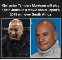Africa, Japan, and Movie: Kiwi actor Temuera Morrison will play  Eddie Jones in a movie about Japan's  2015 win over South Africa  GUINNE Let's hope it's better than Invictus 🇯🇵 rugby japan springboks