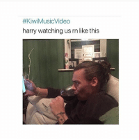 Memes, Music, and Video:  #KiwiMusicVideo  harry watching us rn like this OPINIONS ON THE MUSIC VIDEO? I like it its something different *