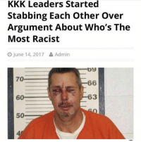 Kkk, Memes, and White People: KKK Leaders Started  Stabbing Each other over  Argument About Who's The  Most Racist  O June 14, 2017  & Admin  by  70  66  60  63  500 White people 😂😂