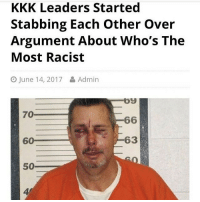 Funny, Kkk, and Power: KKK Leaders Started  Stabbing Each other over  Argument About Who's The  Most Racist  O June 14, 2017 Admin  og  70  66  63  60  50 Power Puff Bitches >>> KKK • ➫➫➫ Follow @Staggering for more funny posts daily!