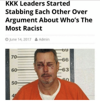 Kkk, Memes, and Racist: KKK Leaders Started  Stabbing Each other over  Argument About Who's The  Most Racist  CO June 14, 2017 Admin  by  70  66  60  50 It is 96 degrees