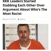 """Definitely, Kkk, and Love: kkk Leaders Started  Stabbing Each other over  Argument About Who's The  Most Racist  O June 14, 2017  Admin  by  70  66  63  60  50 If you ever go to prison remember to tell puns 24-7. When you meet someone say """"knife to meet you"""" and always say """"shank you"""" when someone does something for you. They'll love it and you'll be leading the prison in no time and definitely won't ever get stabbed"""