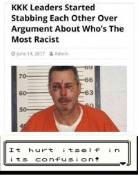 Haha, I bet I hate minorities more than you!: KKK Leaders Started  Stabbing Each Other Over  Argument About Who's The  Most Racist  O June 14, 2017& Admin  09  6  63  70  60  50  4  It hurt tseI i n Haha, I bet I hate minorities more than you!