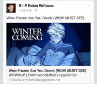 RIP: Kl Just now  Williams  R.I.P Robin Wow Frozen Are You Drunk. (WOW MUST SEE)  WINTER  COMING  Wow Frozen Are You Drunk. (WOW MUST SEE)  WOWWW I From wonderfuldailygalleries  p236264 wonderful dailygalleries.net RIP