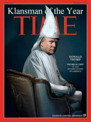 states of america: Klansmanthe Year  TI E  DONALD  TRUMP  WIZARD IN CHIEF  OF THE  DIVIDED STATES  OF AMERICA  facebook.com/tom.adelsbach