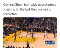 Team ball 🙌💯 (Via ⁦‪@gswreddit‬⁩-Twitter): Klay and Steph both wide open. Instead  of asking for the ball, they pointed to  each other  SA 64  GS 77  3rd 844 :13  29 Team ball 🙌💯 (Via ⁦‪@gswreddit‬⁩-Twitter)