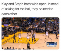 This is true teamwork.: Klay and Steph both wide open. Instead  of asking for the ball, they pointed to  each other  SA 64  3rd 844 13 This is true teamwork.