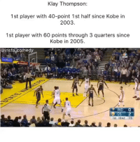 That boy klaythompson 🔥: Klay Thompson:  1st player with 40-point 1st half since Kobe in  2003  1st player with 60 points through 3 quarters since  Kobe in 2005.  @insta comedy  IND O  GS  1st 1042 :15 That boy klaythompson 🔥